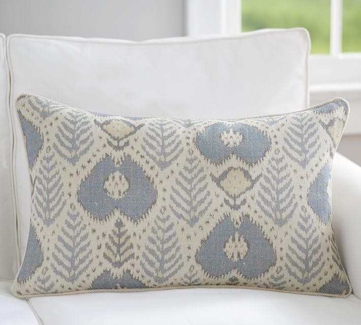 Fern Ikat Print Lumbar Decorative Pillow Cover Pottery Barn