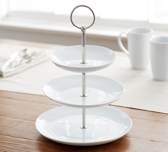 Great White Porcelain Tiered Stand Pottery Barn