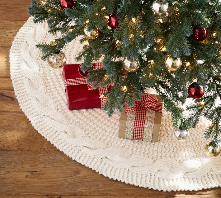 Chunky Cable Knit Tree Skirt Pottery Barn