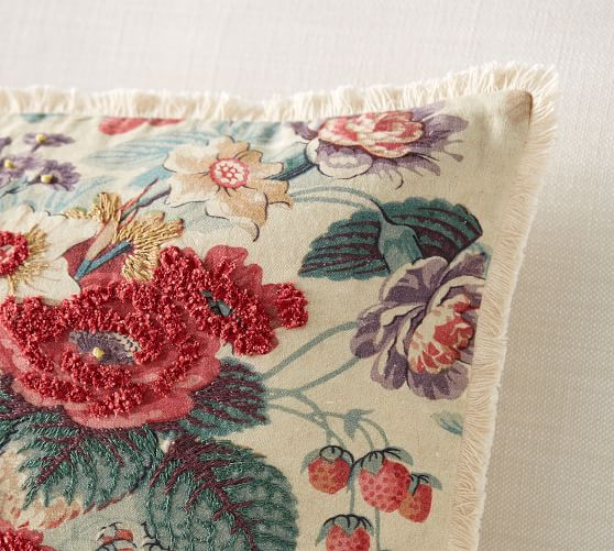 Elia Floral Embroidered Decorative Pillow Cover Pottery Barn