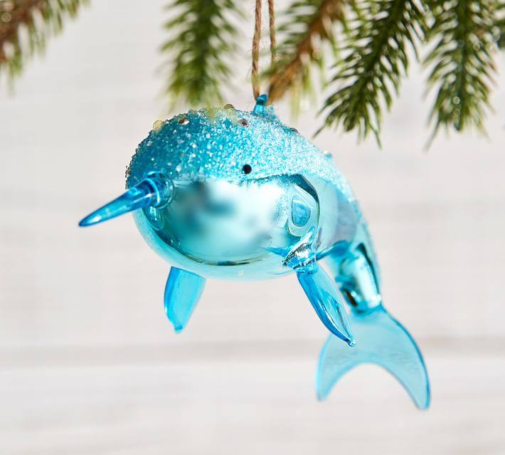 Mercury Amp Glitter Glass Narwhal Ornament Pottery Barn