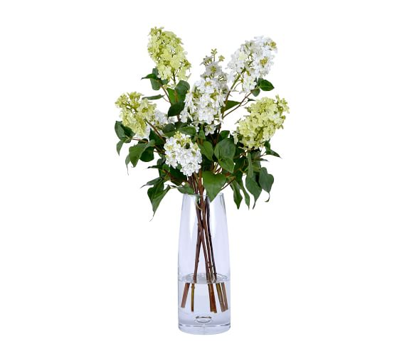 Faux White Lilacs In Tall Glass Vase Artificial Flowers Pottery Barn