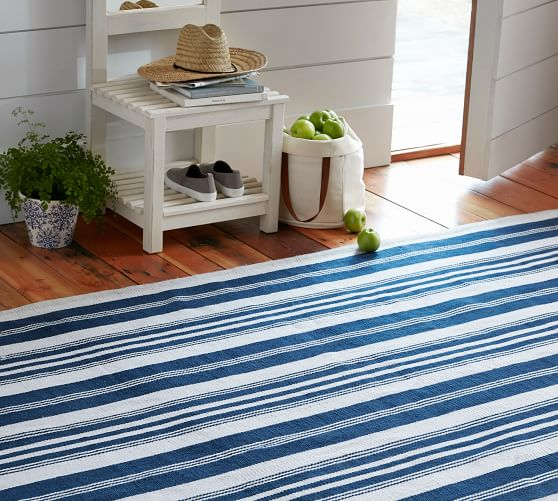 Oxford Stripe Recycled Yarn Indoor Outdoor Rug Blue Pottery Barn