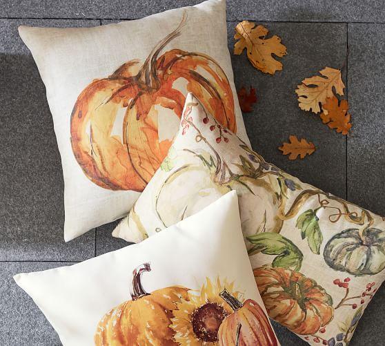 Painted Pumpkin Patch Indoor Outdoor Pillow Pottery Barn