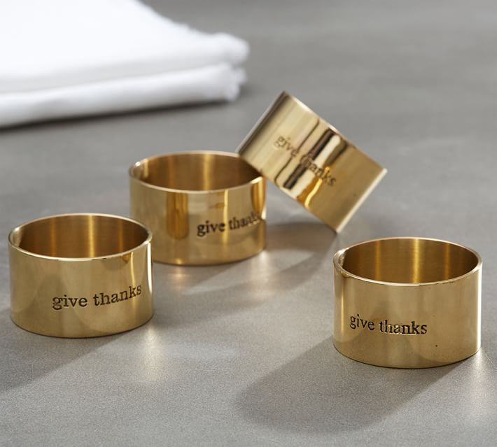 Give Thanks Gold Napkin Ring Set Of 4 Pottery Barn