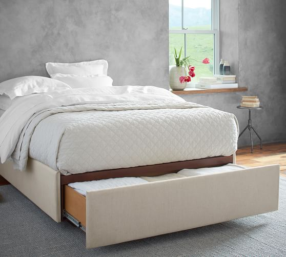Upholstered Storage Platform Bed With Footboard Storage Pottery Barn