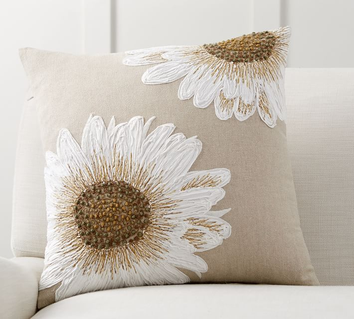 Sunflower Decorative Pillow Cover Pottery Barn