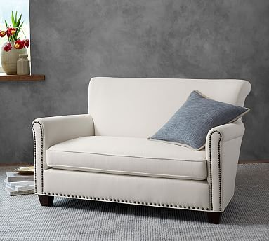 Irving Upholstered Settee With Nailheads Sofa For Small