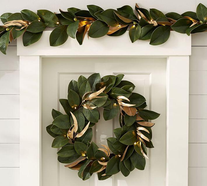 Pre Lit Gold Leaf Magnolia Wreath Amp Garland Pottery Barn