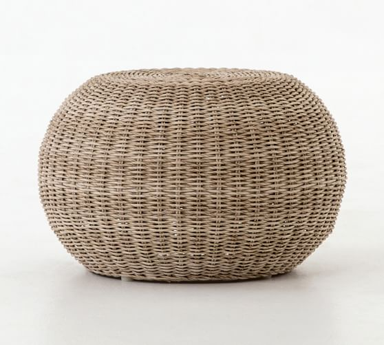 Annette Rattan Accent Stool Pottery Barn