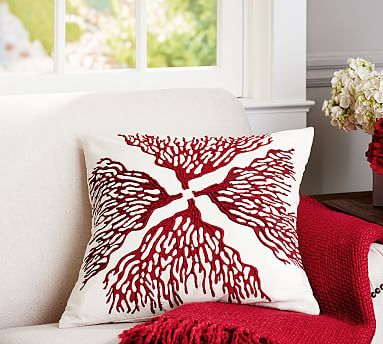 Reef Coral Embroidered Decorative Pillow Covers Pottery Barn