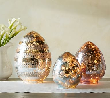 Lit Etched Mercury Eggs Pottery Barn