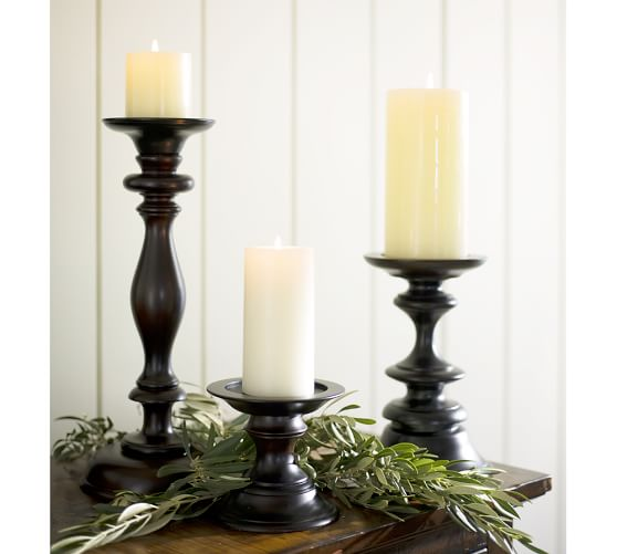 Shop Turned Wood Pillar Candleholder from Pottery Barn on Openhaus