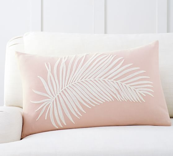 Fern Embroidered Lumbar Decorative Pillow Cover Pottery Barn