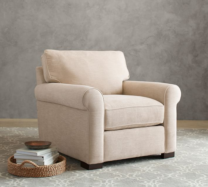 Shop Buchanan Roll Arm Upholstered Armchair from Pottery Barn on Openhaus