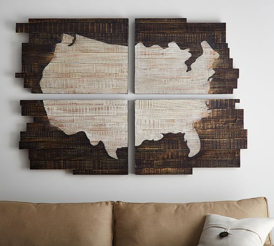 pottery barn united states map Planked USA Quadtych   Wall Decor   Pottery Barn