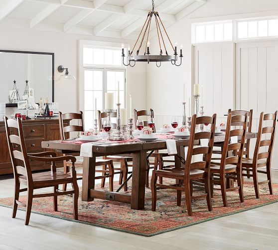 Perfect Pair Benchwright Extending Dining Table Wynn Chair Pottery Barn