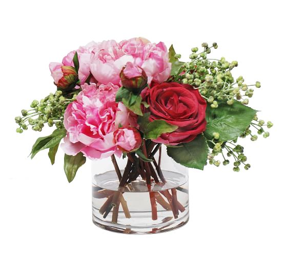 Faux Peony Rose In Vase Artificial Flowers Pottery Barn