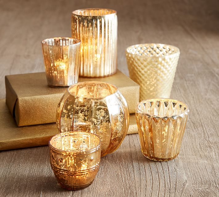 Eclectic Mercury Votive Holders Set Of 6 Gold Candle Holder Pottery Barn