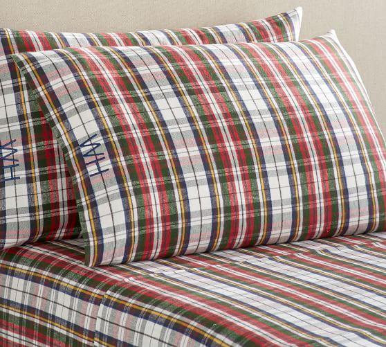 Denver Plaid Organic Flannel Sheet Set Twin Xl Multi Pottery Barn