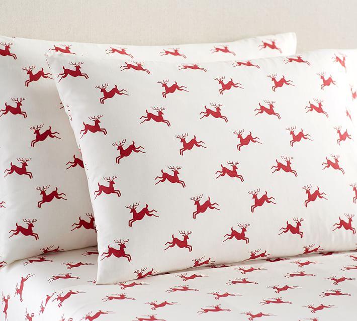 Jumping Reindeer Organic Flannel Sheet Set Cal King Warm Multi Pottery Barn