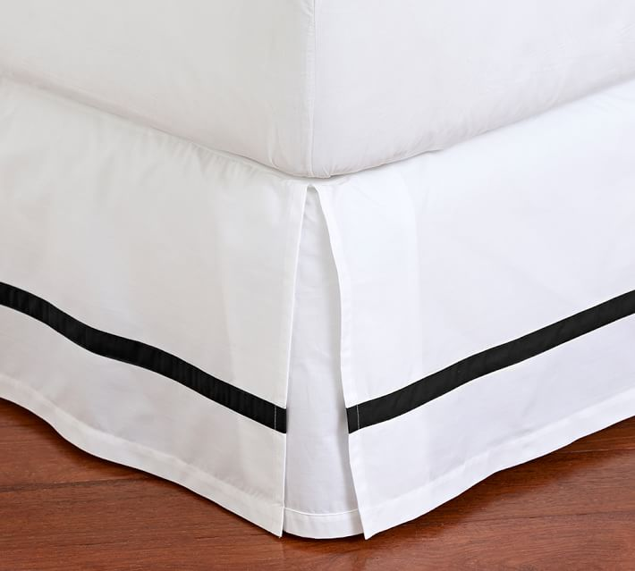 Morgan Banded 400 Thread Count Bed Skirt, Queen, Black | Pottery Barn