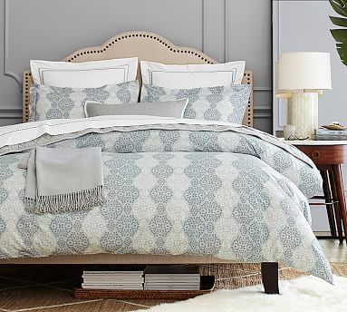 Pottery Barn Organic sateen Haven Mosaic DUVET COVER only Full Queen Gray Blue