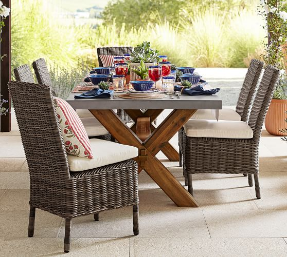 """Shop Abbott Concrete & FSC® Acacia 84"""" Dining Table, Brown from Pottery Barn on Openhaus"""
