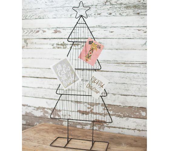 Christmas Tree Shaped Metal Card Holder Pottery Barn