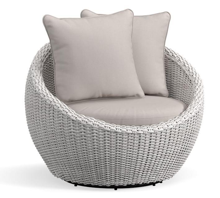 Torrey All Weather Wicker Papasan Swivel Chair White Wash