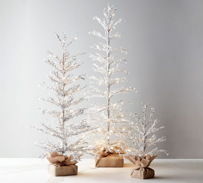 Pre Lit Snowy Crystal Trees Pottery Barn