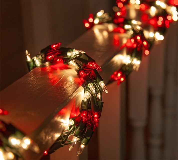 9 Red And Clear Incandescent Garland Lights With Green