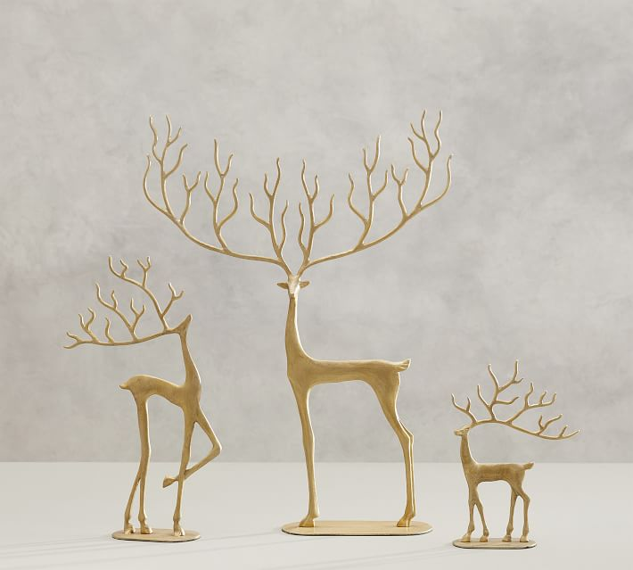 Set of 2 New Pottery Barn MERRY REINDEER Brass Christmas Holiday Ornaments