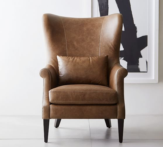 Champlain Wingback Leather Chair Pottery Barn