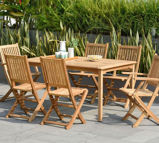 Bar Height Glass Table, Reyes 7 Piece Teak Rectangular Dining Table With Josie Dining Chair Set Pottery Barn