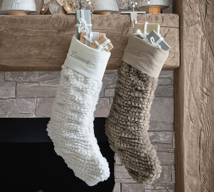Honeycomb Faux Fur Stockings Pottery Barn