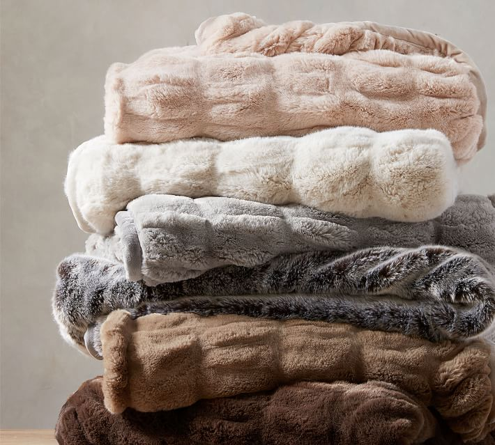 Faux Fur Ruched Throw Blankets Pottery Barn