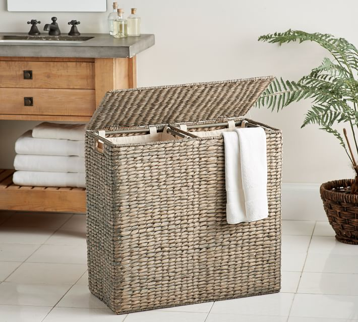 Seagrass Divided Hamper with Liner