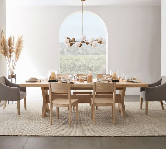 Perfect Pair Modern Farmhouse Extending Dining Table Menlo Classic Slope Chair Pottery Barn