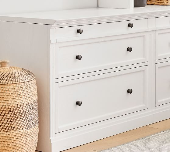 Livingston Double 2 Drawer Lateral Filing Cabinet With Top Pottery Barn