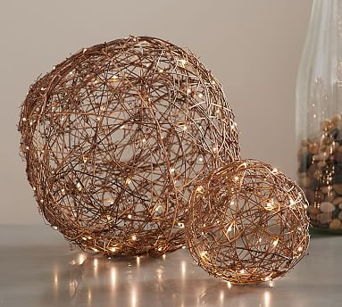 NEW IN BOX Diameter 8.5 inches Pottery Barn Light up hanging Orbs Large