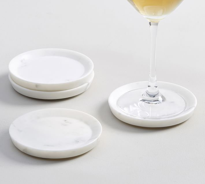 White Marble Coasters Set Of 4 Bar Accessories Pottery Barn
