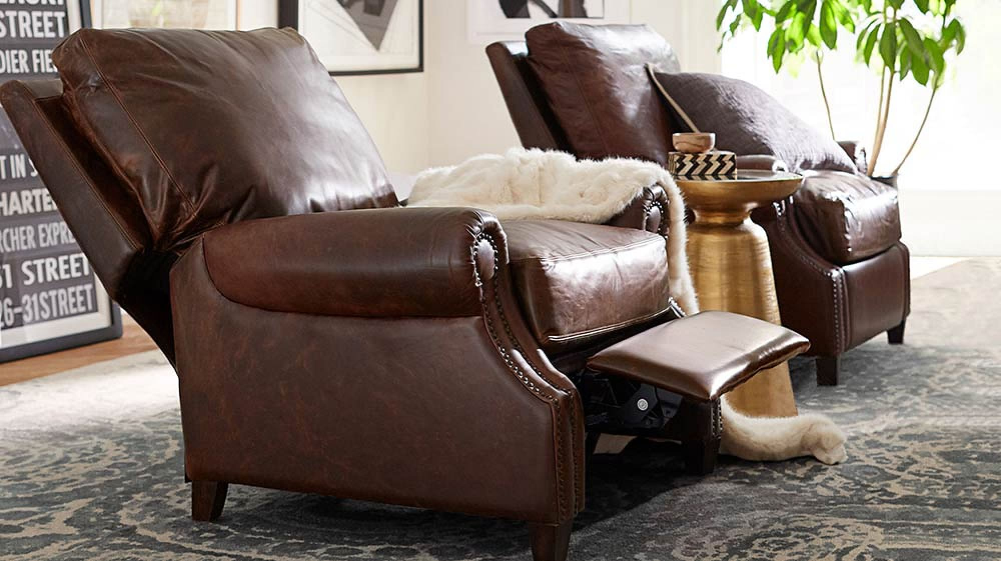 James Roll Arm Leather Recliner With Nailheads Pottery Barn