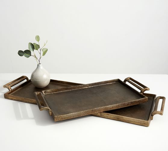 Antiqued Metal Decorative Tray