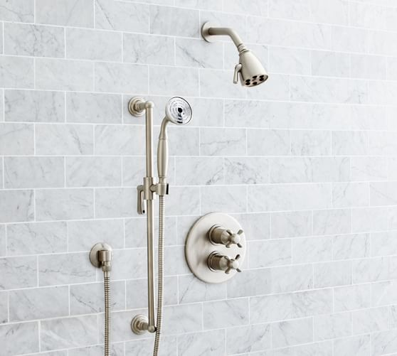 Victoria Thermostatic Cross-Handle Hand-Held Shower Faucet Set | Pottery  Barn
