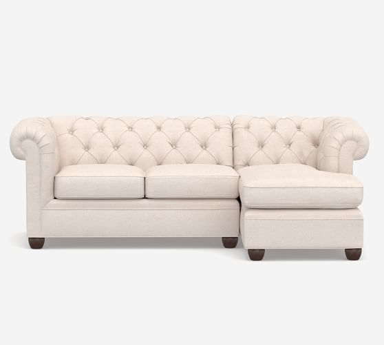Chesterfield Roll Arm Upholstered Sofa Chaise Sectional Pottery Barn