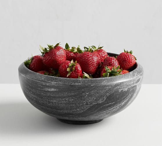 Black Marble Fruit Serving Bowl
