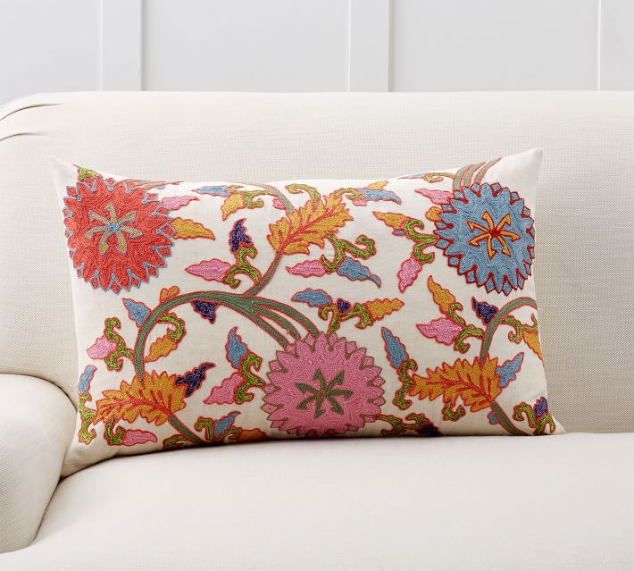Willow Embroidered Lumbar Pillow Cover Pottery Barn