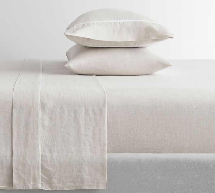 WHITE NEW POTTERY BARN Belgian Flax Linen FULL Sheets Set 4 pc Set
