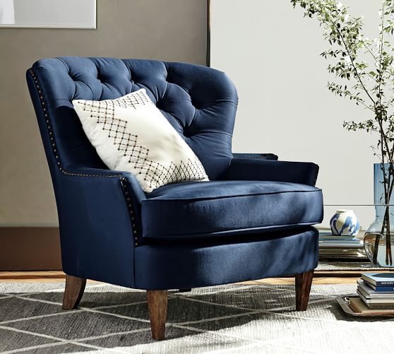 Cardiff Tufted Upholstered Armchair With Nailheads | Pottery Barn